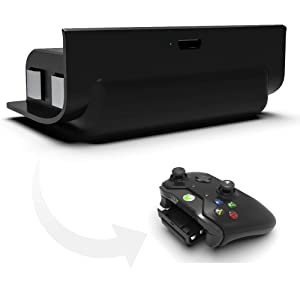 Rechargeable Xbox One Controller 1200mAh Snap-in Battery Pack with 3ft USB Charging Cable for Xbox One Controllers, Black