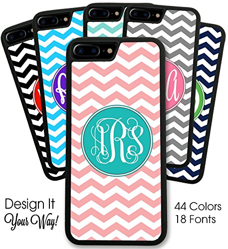 Personalized Monogram Chevron iPhone 7 Case - Hard Rubber Case (4.7 inch) - Black or (Personalized Cell Phone Case)