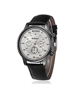 Lazzgirl Armbanduhr aus Quarz-Armbanduhr im Retro-Design-Lederarmband(Schwarz,One Size)