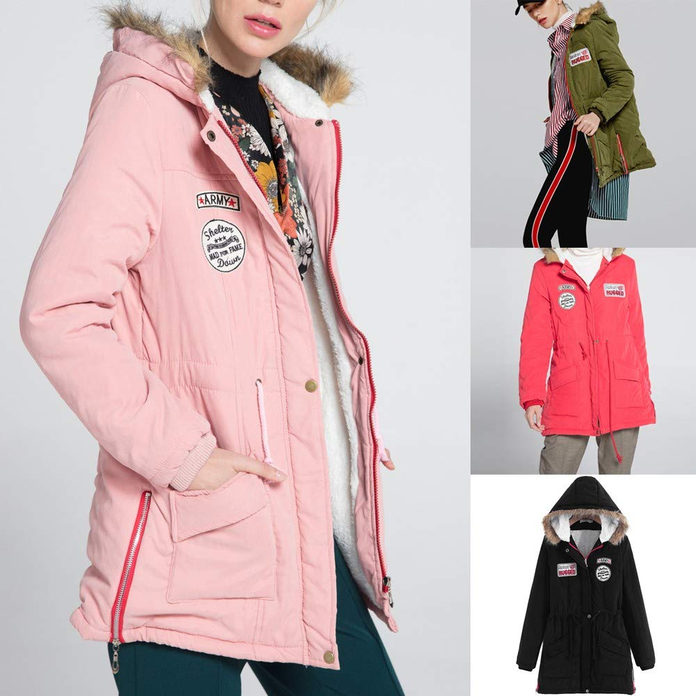e18028a20ab7fc Sport & Freizeit LeeyღღღDamen Winter Jacke Slim fit Kapuzen Mantel Parka  lang Mantel Winterjacke Fell Kragen ...
