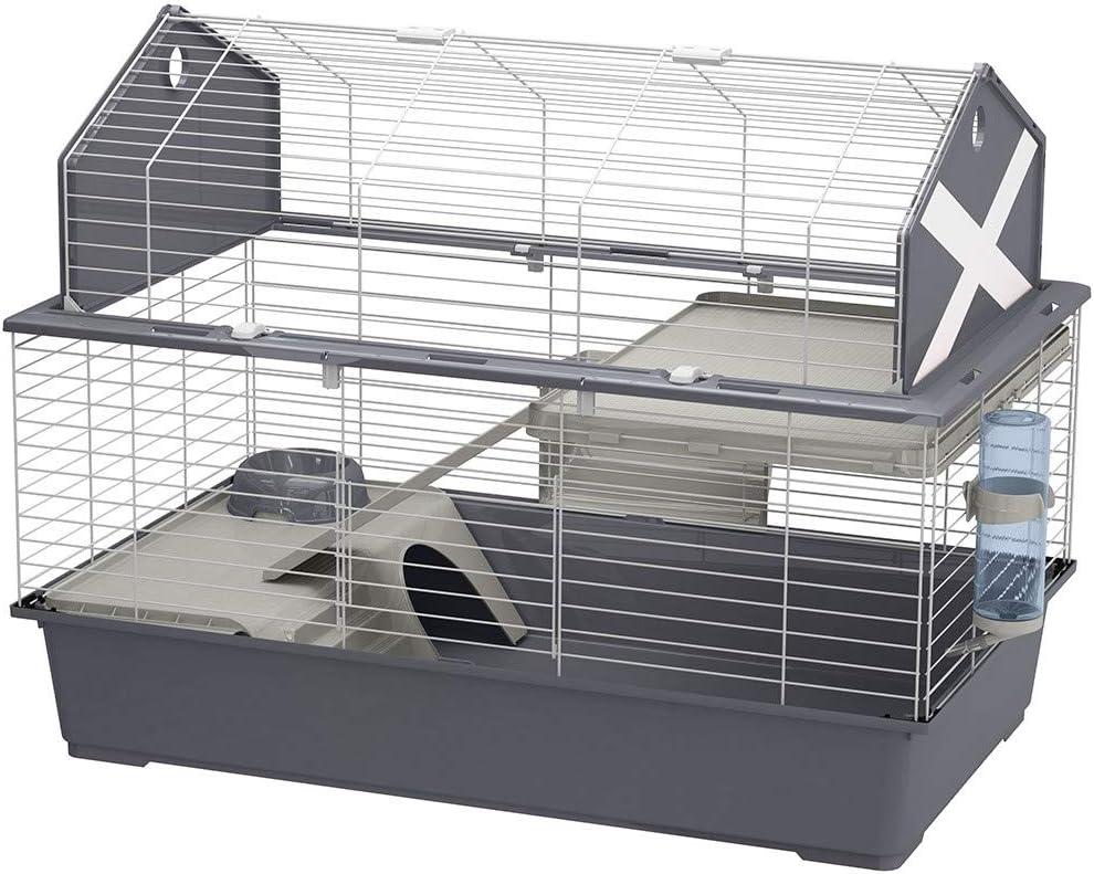 Gabbia per Conigli e Piccoli Animali BARN 100, 2 Piani, Tetto Apribile, Accessori e Adesivi Inclusi