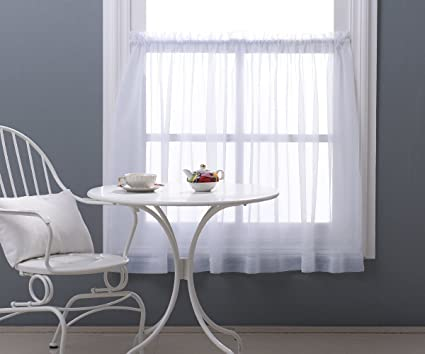 NICETOWN 36u0026quot; Sheer Curtains For Kitchen   Window Treatment Plain Sheer  Voile Tier Curtain Valance