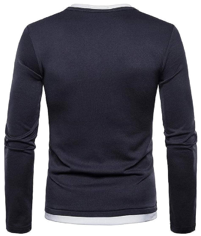 Etecredpow Mens Tees Warm V-Neck Henley Shirt Casual Long Sleeve T-Shirts