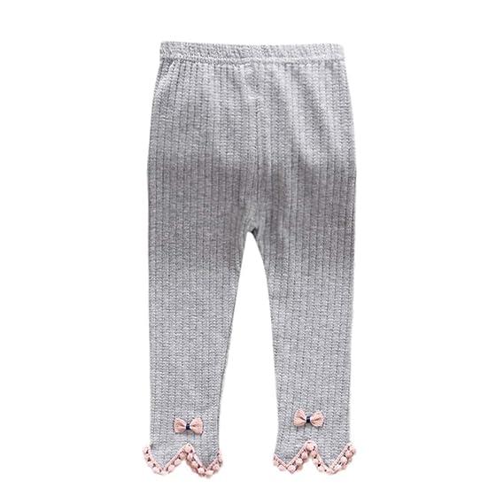 65142a8782fdde HEETEY Kids Girl Legging Warmer Children Kids Skirt-Pants Solid Trousers  Newborn Baby Girl Stripe Skinny Bow Pants Cute Knit Stretchy Warm Leggings:  ...