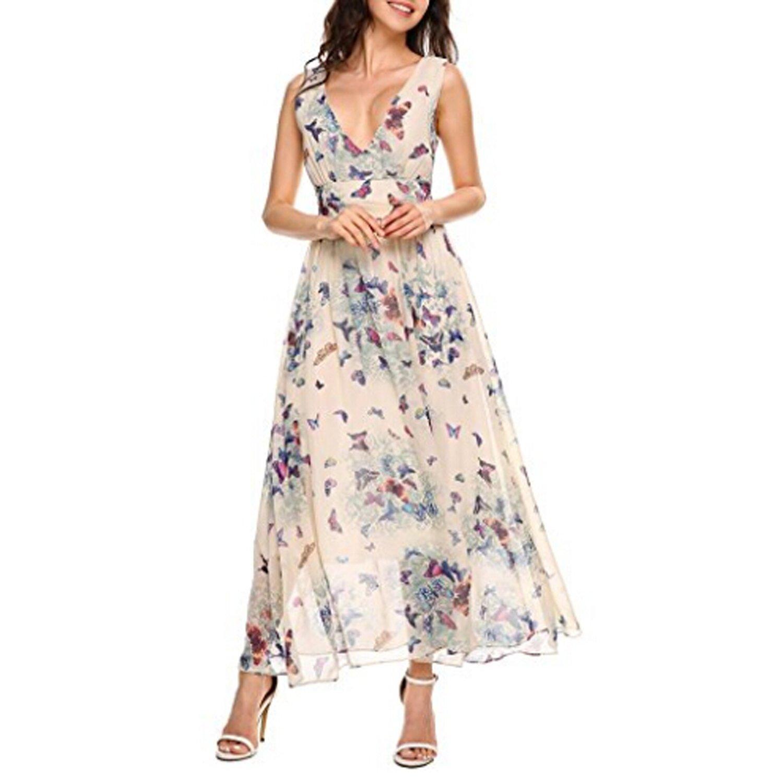 Caeasar Sommerkleid Damen Elegant Partykleid Lang Ärmellos Blumenkleid Beach Kleid High Waist Chiffon Kleid Strandkleid Abendkleid Tiefer V Ausschnitt
