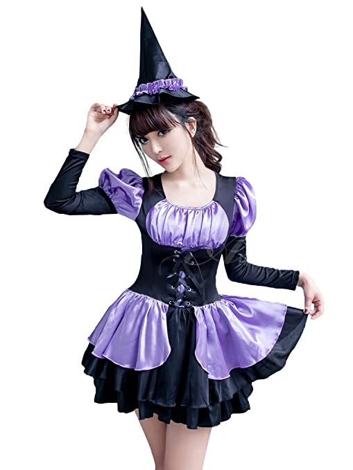 Anna Mu ハロウィン 仮装 魔女 ウィッチ コスプレ 衣装 大人用コスチューム 紫 Mサイズ z1689