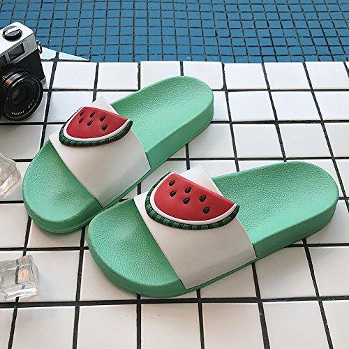fankou Zapatillas de Frutas Chicas de Verano Suaves, Baños Interiores Antideslizantes Son Preciosas Parejas Baño Encantador Arrastre Fresco y, 35-36, Sandía Verde