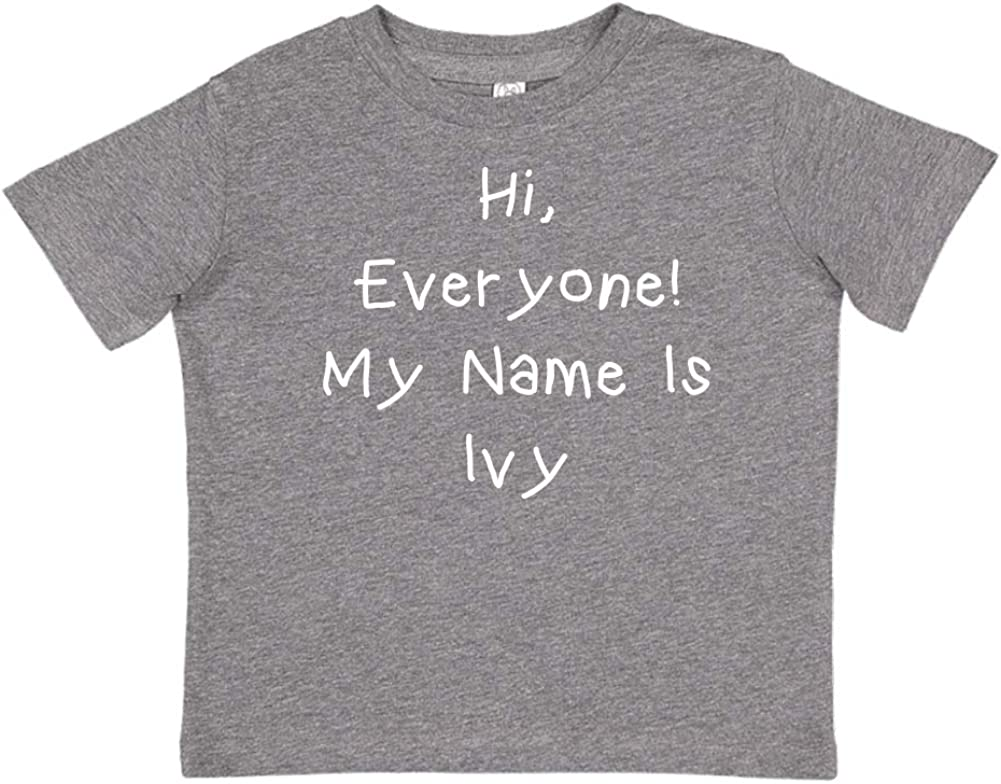 My Name is Ivy Everyone Mashed Clothing Hi Personalized Name Toddler//Kids Short Sleeve T-Shirt