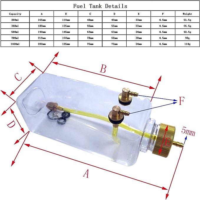 Piezas de Accesorios de Modelo de Control Remoto Tanque de Combustible de pl/ástico Transparente para avi/ón RC oueaen Tanque de Combustible RC