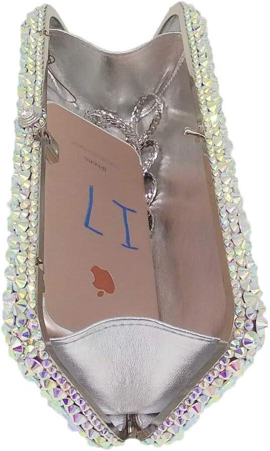 XLJJB Dazzling Silver Ab Women Crystal Evening Bags Metal Hardcase Box Diamond Minaudiere Wedding Party Handbag Purse Cbg863093-22