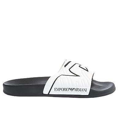 e11fad0a8 Amazon.com  Emporio Armani Eagle Print Slide Mens Sandals Black ...