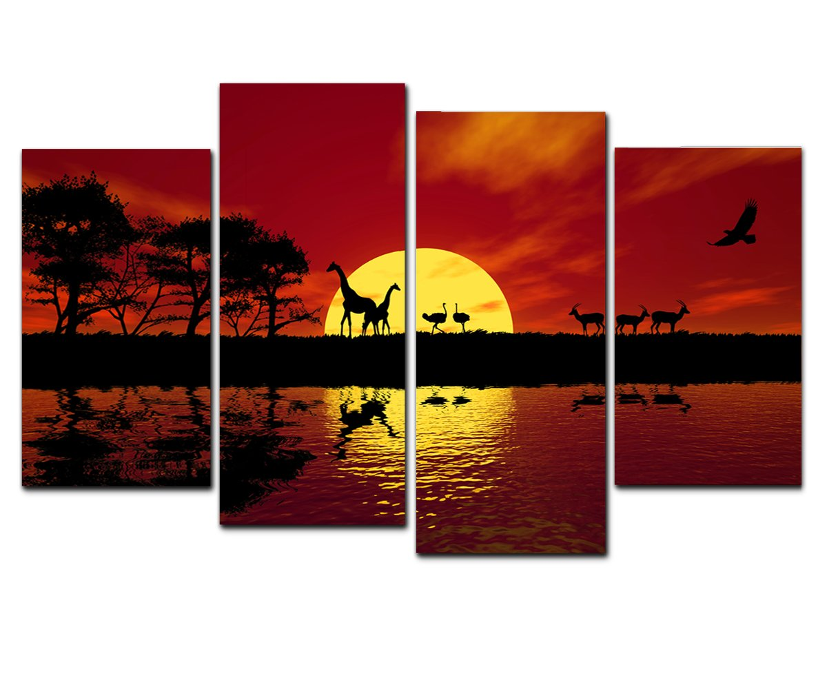 Amazon wieco art large modern 4 panels stretched and framed amazon wieco art large modern 4 panels stretched and framed giclee canvas prints landscape african red tone pictures photo paintings on canvas wall amipublicfo Image collections