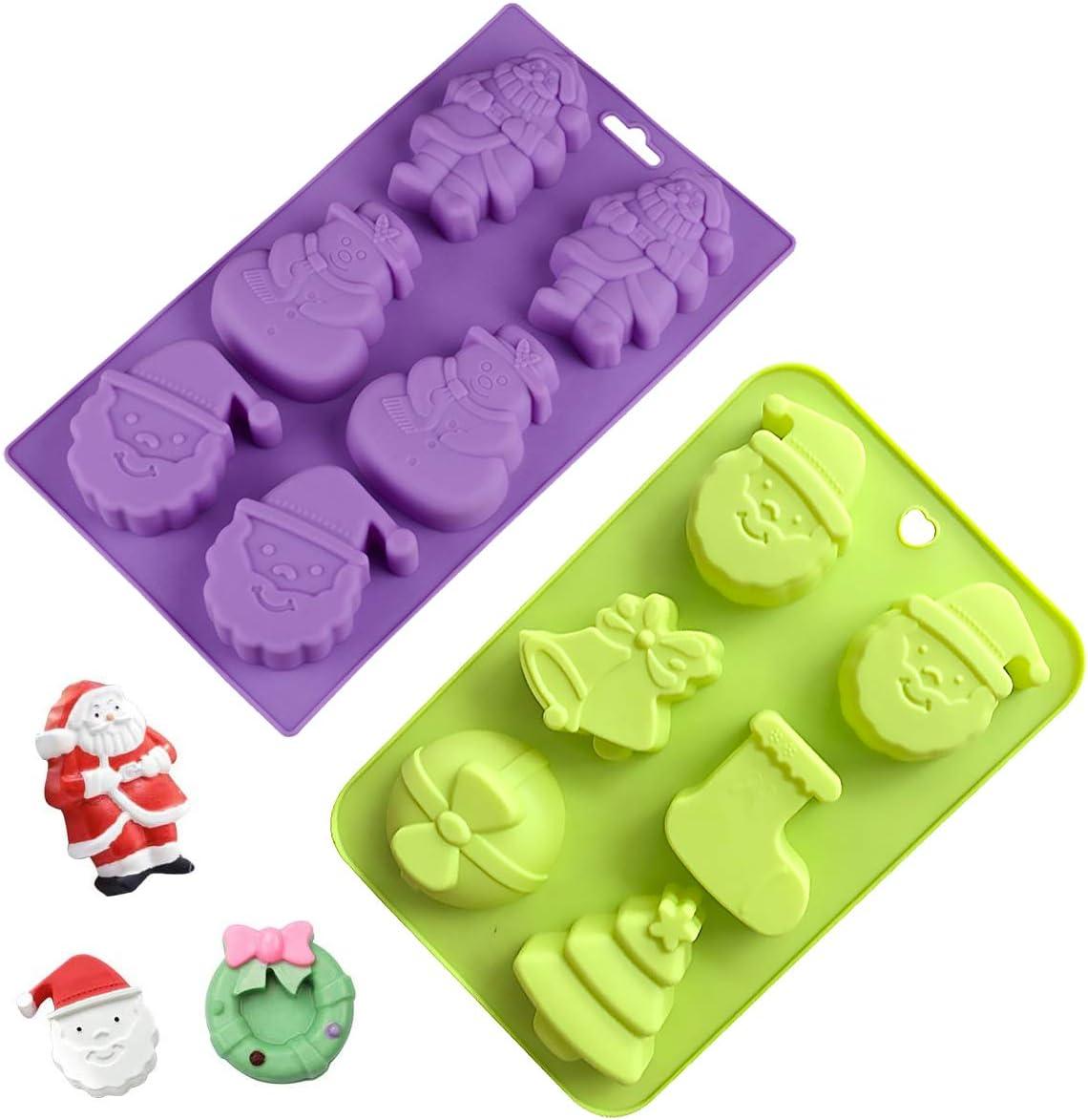 YWQ 2 Moldes de Silicona para Navidad,Molde de Jabón de Navidad