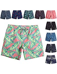 a69f0830e9 Mens Quick Dry Printed Short Swim Trunks with Mesh Lining Swimwear Bathing  Suits