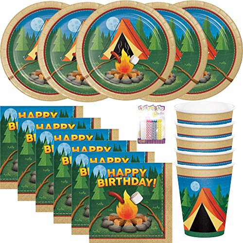 Camp Out Campfire Party Plates Napkins and Cups Serves 16 with Birthday Candles -Camp Out Campfire Party Supplies Pack (Bundle for -