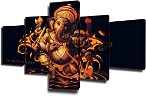 5 Piece Canvas Wall Art Ganesha Decorations Ganapati Religious Festivity Wall Decor Modern Artwork Home Decor for Living Room Giclee Wooden Framed Gallery-wrapped Stretched Ready to Hang(50''Wx24''H)