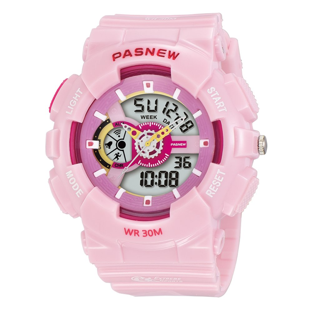 PASNEW Kids Watch Multi Function Digital-Analog Sport Watches for 7-Year Old or Above Children-Pink