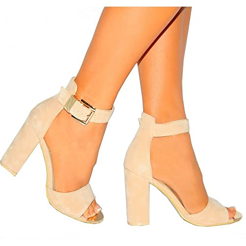 bc4fa6e22f7 Nude Faux Suede Block Heel High Heels Gold Buckle Ankle Cuff Peep Toes  Shoes 3-