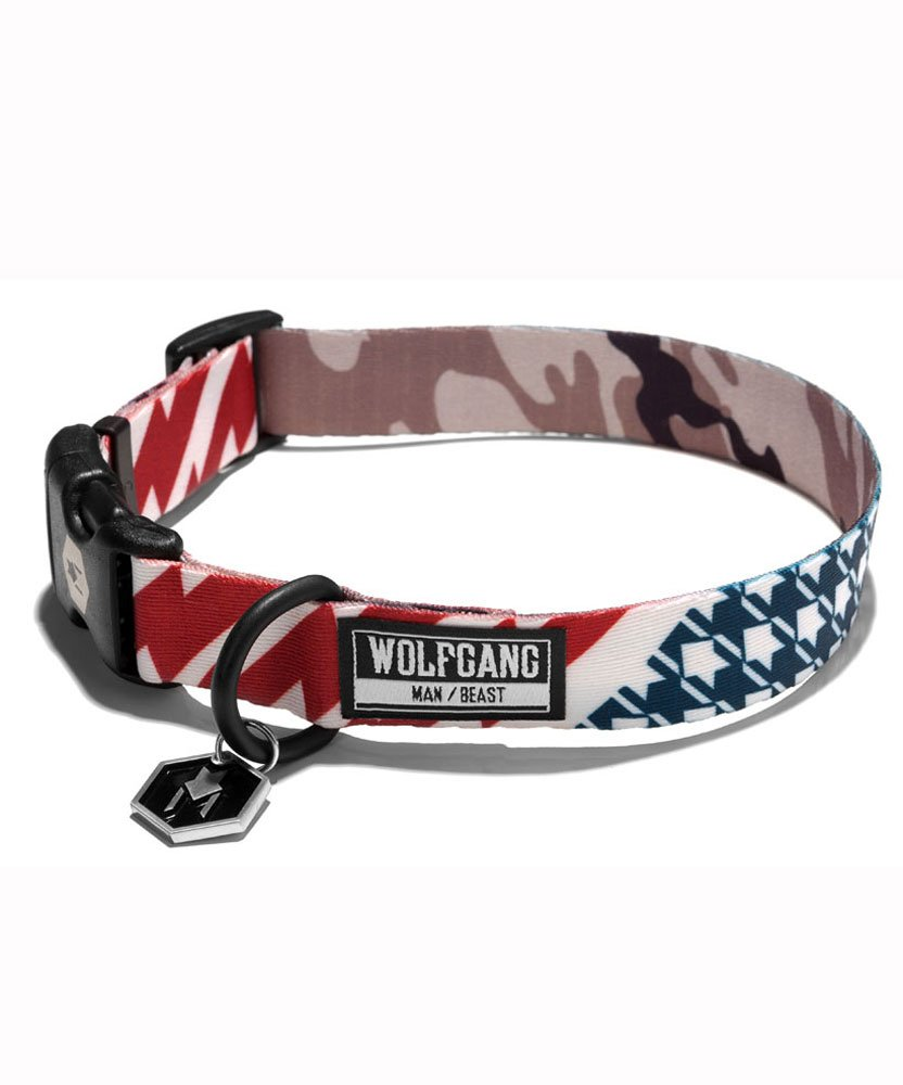 Large 18\ Wolfgang Man & Beast Dog Collar in Multiple Original Artwork Options for Small Dogs, Medium Dogs & Large Dogs (CamoFlag, Large 18 -26  x 1 )