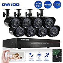OWSOO 8CH Full 960H/D1 Video Security System HDMI P2P Cloud Network DVR with 1TB Hard Drive & 8 Indoor/Outdoor Infrared Cameras, IR-CUT Night Version Motion Detection Email Alarm Support
