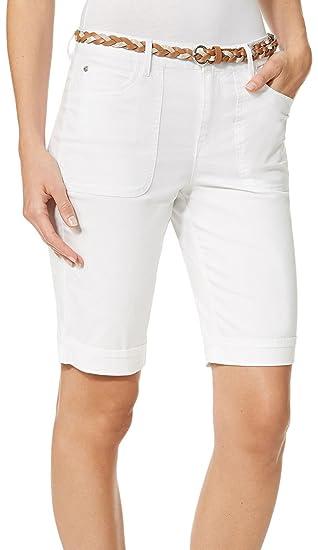 ac32dc1afd7c1 Gloria Vanderbilt Women s Petite Rachel Belted Bermuda Shorts (Shell White