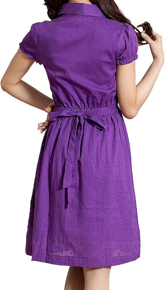 Elliscold Casual Shirt Dress for Women Short Sleeve Vintage Embroider Cotton Swing Midi Dress