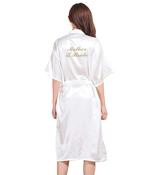 e68d0b920d2 Women s Satin Pure Colour Kimono Wedding Mother of The Bride Party Getting  Ready Robe with Gold Glitter V-Neck Robe at Amazon Women s Clothing store