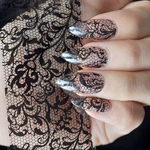 Pern Vines Pattern Nail Art Foil Sticker Glue Transfer Black Lace Nail Decal Roll in Clear Jar 1 meter NO GLUE 225