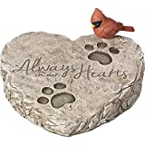 "Precious Moments 171460 Always in Our Hearts Decorative Resin Memorial Garden Stone with Cardinal Accent Yard Decor, Gray/Red, 8"" Long by 7-in Wide"