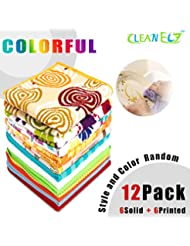 """12 Pack Soft Washcloths Bulk /Dish Rags/Solid&Printed Kitchen Towels/Magicfiber Microfiber Cleaning Cloth/Hand Towels Disposable,Multipurpose for Kitchen,Bathroom and Car (12""""x12"""",Random Colored)"""