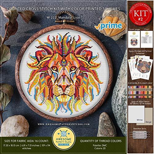 Mandala Lion #K222 Embroidery Kit   Cross Stitch Kits   Funny Animals Cross Stitch World   Needlepoint Kits   Cross Pattern   Cross Designs