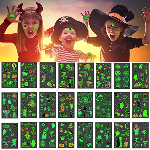 24pcs Glow Halloween Temporary Tattoos Stickers for Kids Body Art False Tattoo Happy Halloween Decorations Set , Skulls Skeleton Owl Spider & Bats Ghosts, Pumpkins, Spiderwebs as Party Favors Supplies (Art)