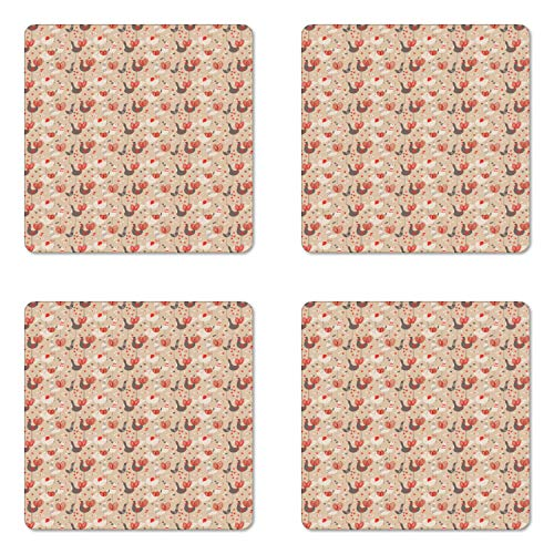 Taupe Gloss - Ambesonne Birds Coaster Set of Four, Doodled Chickens with Red Ducklips Scribbled Tails and Heart Figures, Square Hardboard Gloss Coasters for Drinks, Taupe Beige Ivory and Ruby
