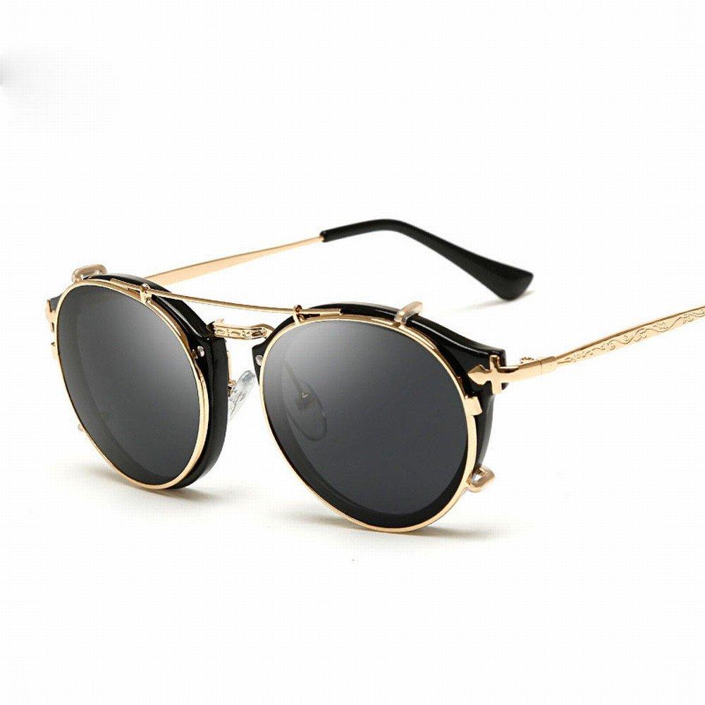 LMB Punk Sonnenbrille Damen Retro Dual Spiegel Sonnenbrille Sonnenbrille Herren Sonnenbrille,C,Der gesamte Code