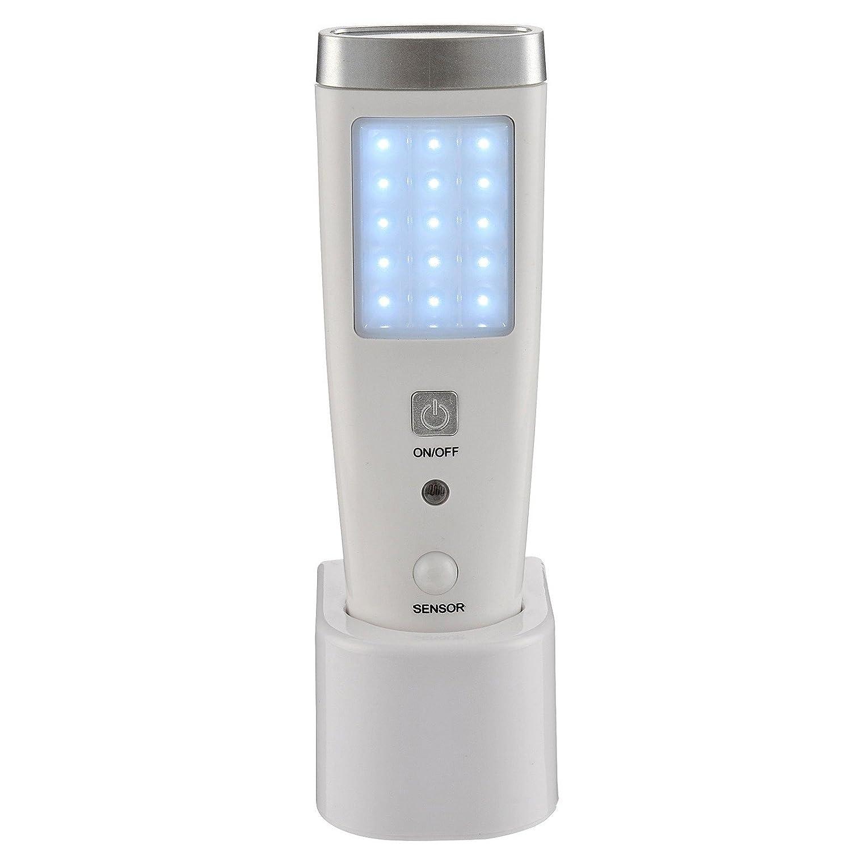 Life - Lámpara recargable de 15+5 LED, con sensor, función de emergencia + linterna, con base para recargar: Amazon.es: Iluminación