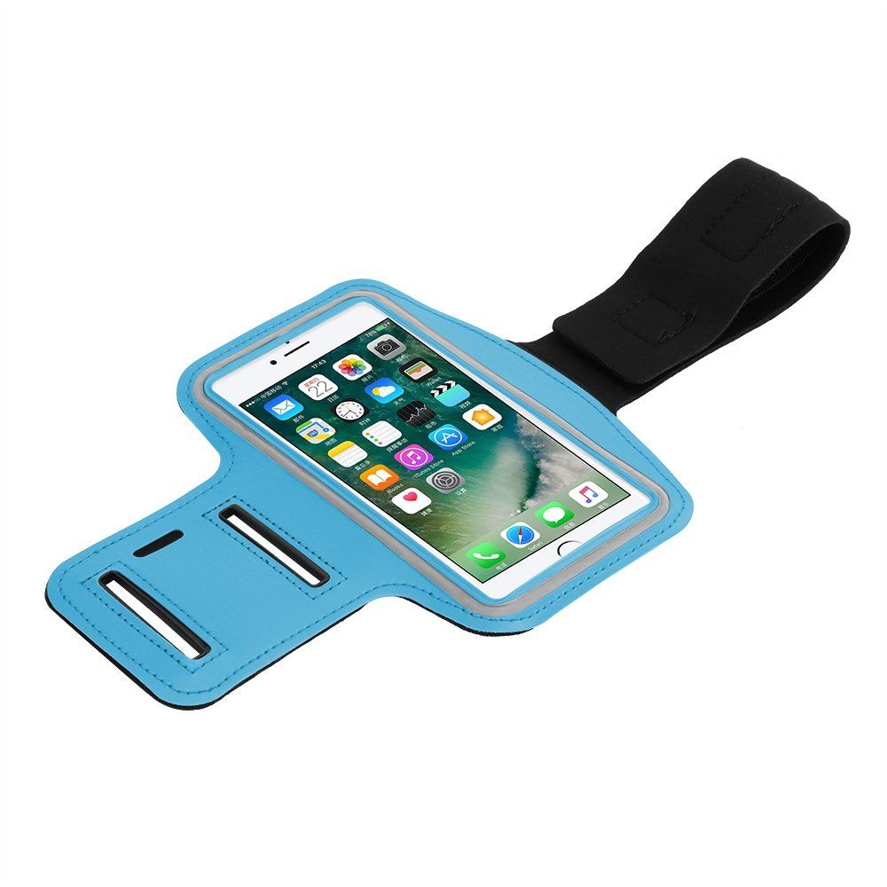 Vvciic Fascia da Braccio per Telefono Sport Sudore AntiGraffio Resistente al Tatto Titolare del Telefono Touch Screen con Foro per Auricolare Chiave per iPhone 7 8 Plus 6 6S Plus Samsung Nero