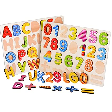 Amazoncom Classic Wooden Number Puzzle And Alphabet Puzzle Early