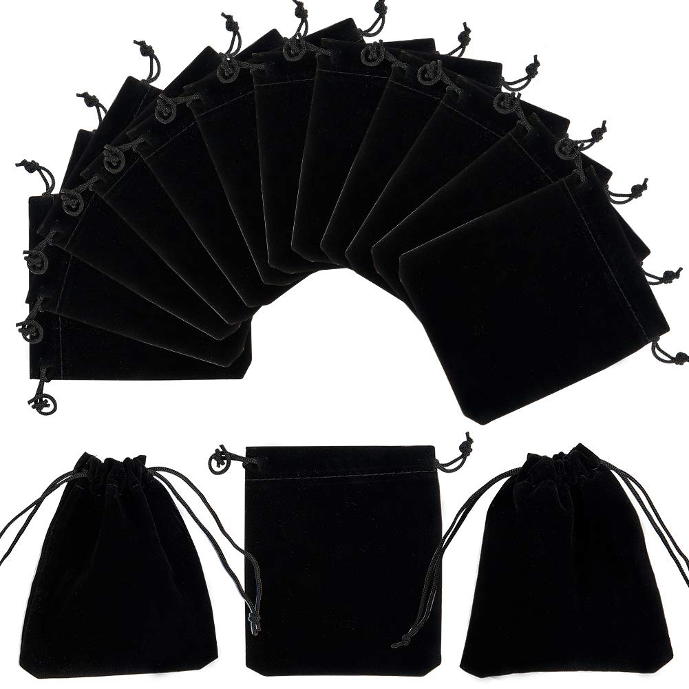 PandaHall Elite - 50Pcs Sachets Pochettes de Velours Rectangle Sacs à Cordon Sacs-Cadeaux pour Bijoux, Noir, 12x10cm PH PandaHall