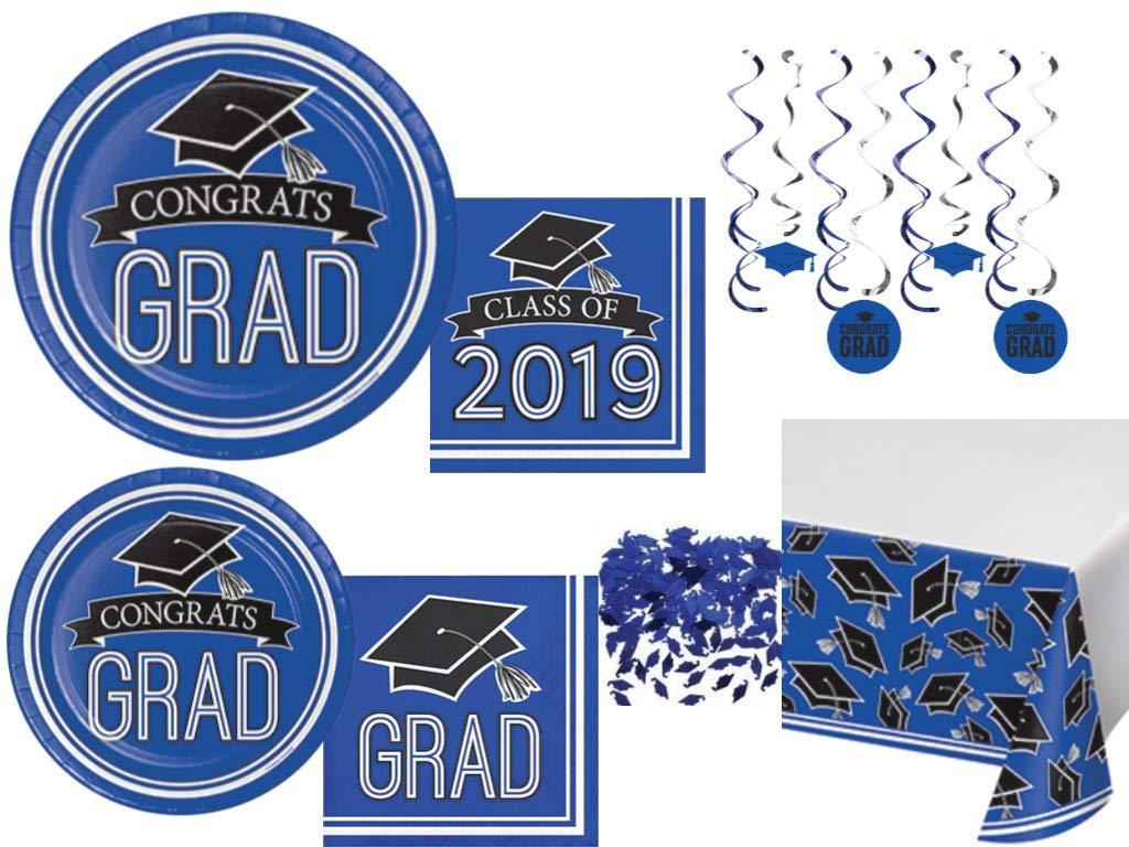 Class of 2019 Graduation School Spirit Cobalt Blue, Black & White Party Tableware & Decorations for 36 Guests