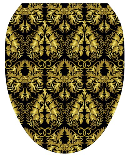 Toilet Tattoos TT-1037-O Rococo Black and Gold Design Toilet Seat Applique, Elongated by Toilet Tattoos