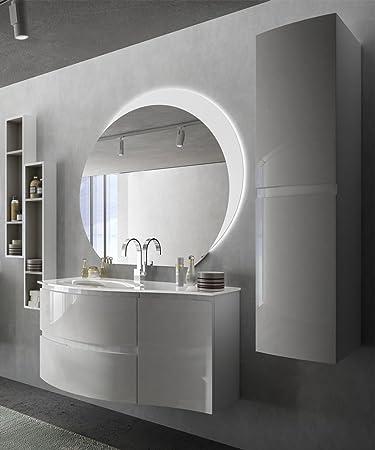 BADEN HAUS Hängeschrankmodell Modernes Vague Weiß Glänzend, Größe Cm 104,  Mit Spiegel LED,
