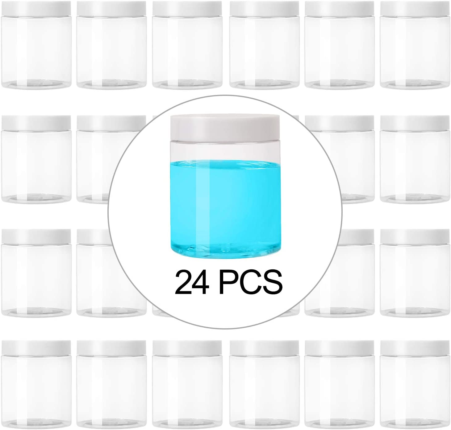KEILEOHO 24 PCS 8 OZ Slime Containers with White Lids, Food Grade Clear Plastic Slime Storage Containers, BPA Free, Wide-Mouth Plastic Jars for Slime Kit, Food Storage, Beauty Products