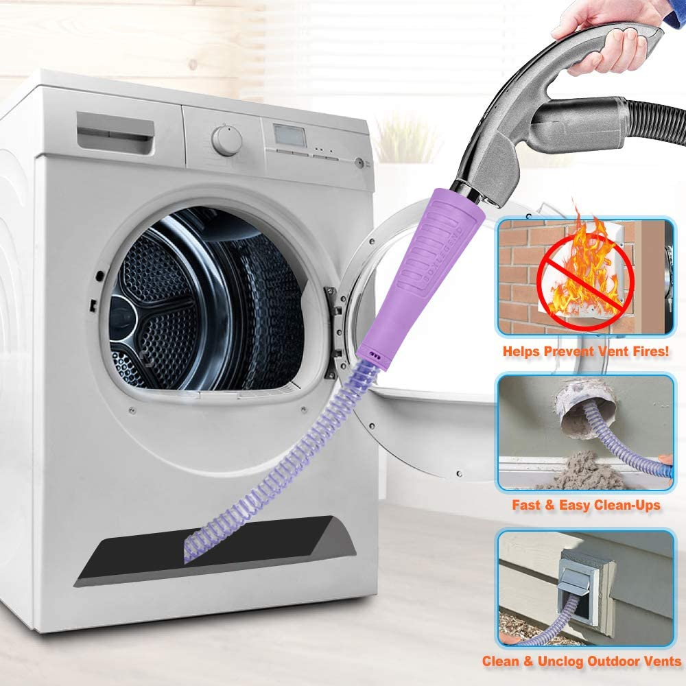 Dryer Vent Cleaner Kit Vacuum Hose Attachment Brush Lint Remover Power Washer and Dryer Vent Vacuum Hose (Purple)