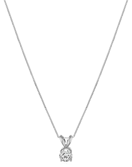 cd819f4d7cd1b IGI Certified 14k Gold Lab Created Diamond Pendant Necklace (IJ Color,  SI1-SI2 Clarity), 18