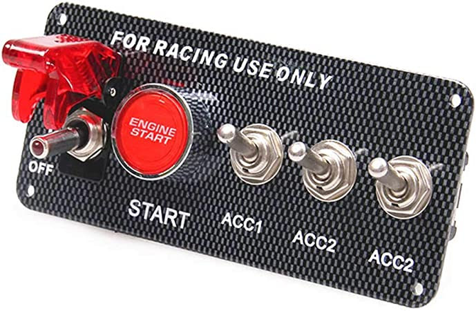 Ct Carid Zündschalter Panel 12 V Rennauto Motor Start Drucktastenschalter Panel Kohlefaser Led Kippschalter Für Rennwagen Rv Lkw 5 In 1 Auto