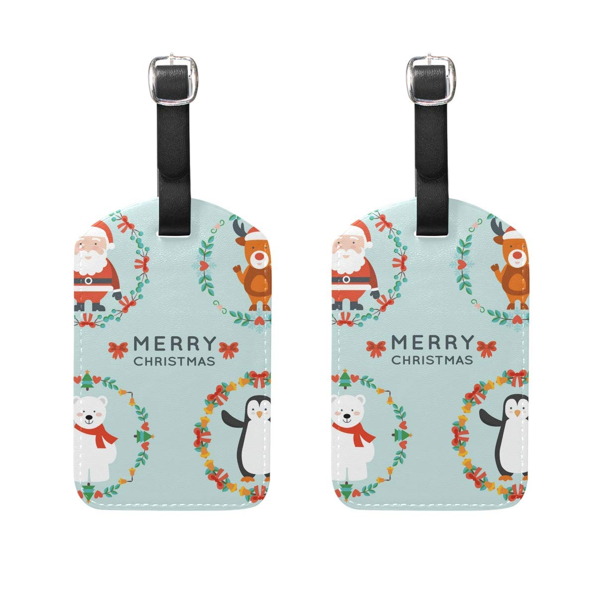 Christmas Characters Luggage Tag Travel ID Label Leather for Baggage Suitcase Set 2 Piece
