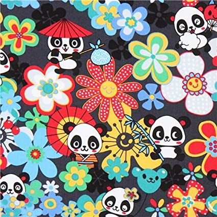Dark grey cute panda colorful flower fabric Trans-Pacific Textiles USA (per 0.5 yard unit)
