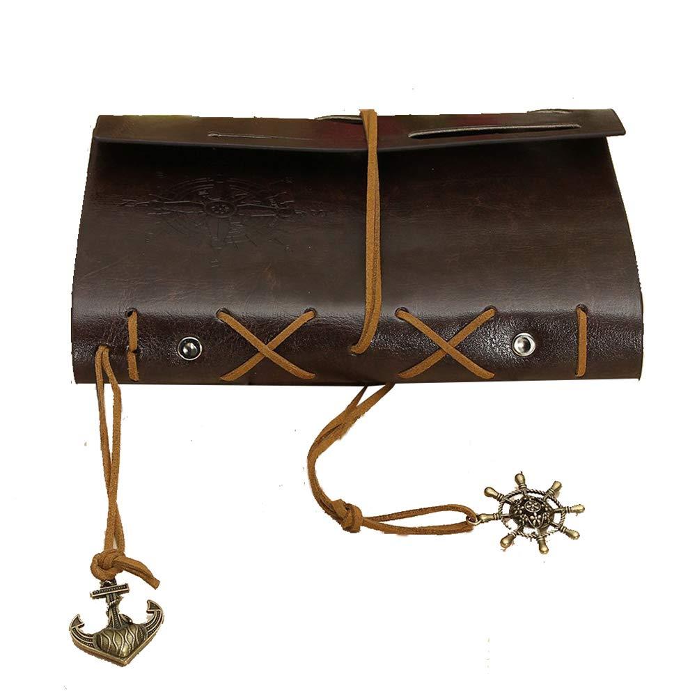 Ndier Nuovo Vintage Leather Cover Art Journal Notebook Diary- Brown 14.5 * 10.5 * 2.5 cm (L * W * H) / 5.7 * 4.1 marrone 1, 0 pollici Cancelleria e Prodotti per Ufficio Deanyi