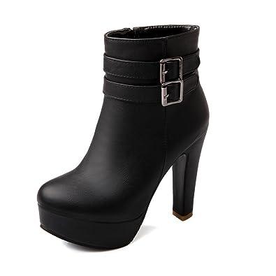 Ladies Chunky Heels Buckle Round Toe Black Imitated Leather Boots - 7 B(M) US