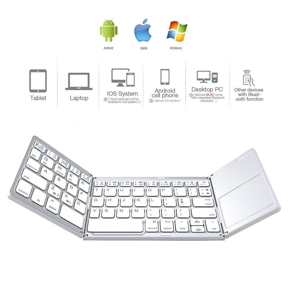 b63cd5d7676 UnTech Portable Foldable Wireless Bluetooth Keyboard with Touchpad for All  Devices Windows PC iOS Android Tablet MacBook Pro with Rechargeable Li-ion  ...